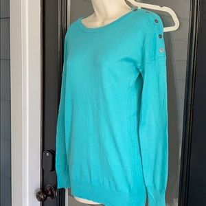Blue Button Shoulder Sweater